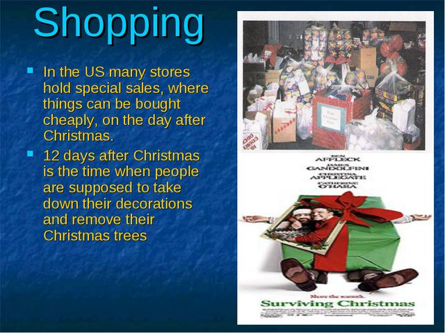 Shopping In the US many stores hold special sales, where things can be bought...