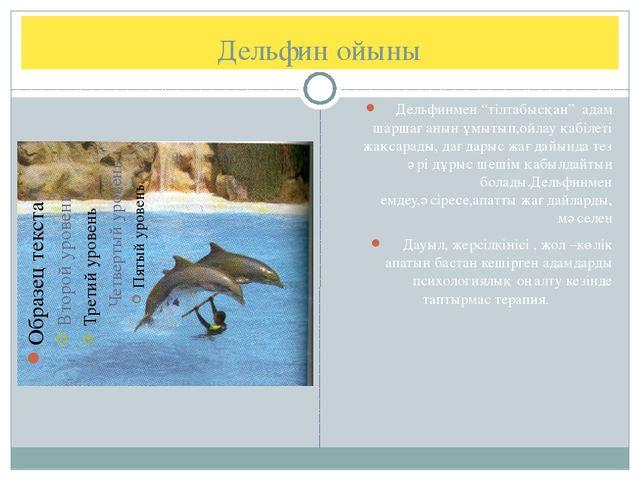 """Дельфин ойыны Дельфинмен """"тілтабысқан"""" адам шаршағанын ұмытып,ойлау қабілеті..."""