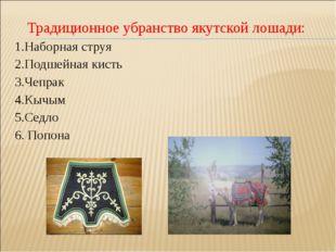 Традиционное убранство якутской лошади: 1.Наборная струя 2.Подшейная кисть 3