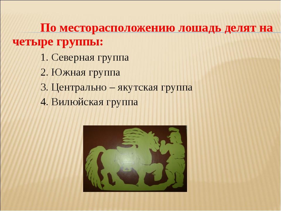 По месторасположению лошадь делят на четыре группы: 1. Северная группа 2....
