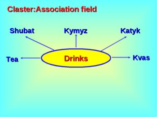 Drinks Claster:Association field Kymyz Shubat Katyk Tea Kvas