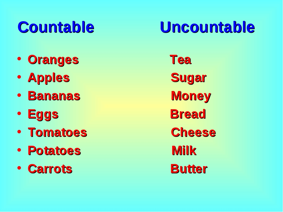 Countable Uncountable Oranges Tea Apples Sugar Bananas Money Eggs Bread Tomat...