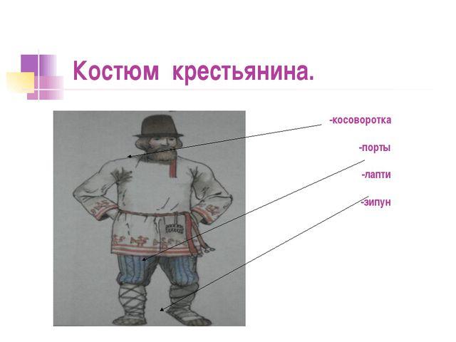 Костюм крестьянина.  -косоворотка -порты -лапти -зипун