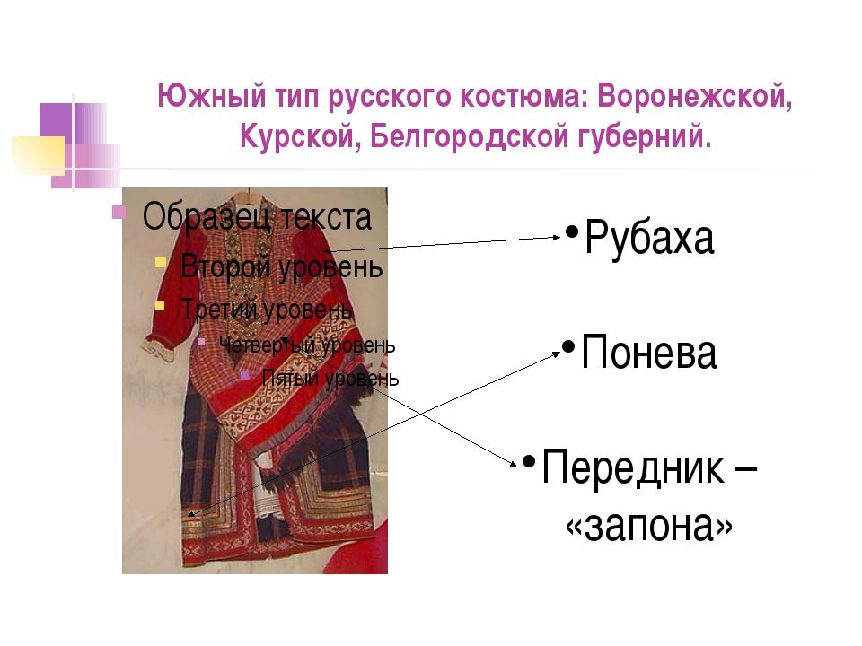 Южный тип русского костюма: Воронежской, Курской, Белгородской губерний. Руба...