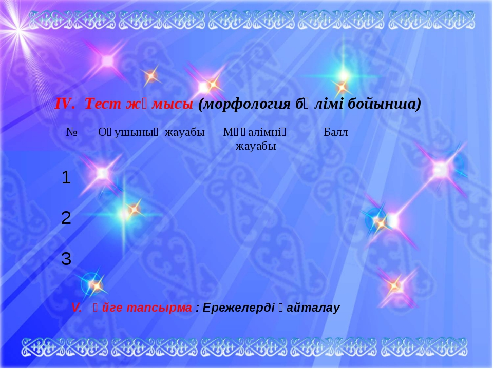 IV. Тест жұмысы (морфология бөлімі бойынша) V. Үйге тапсырма : Ережелерді қай...