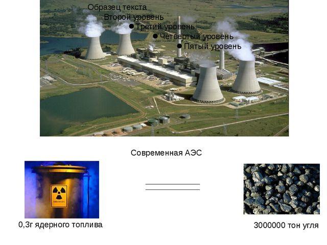 Современная АЭС 3000000 тон угля 0,3г ядерного топлива
