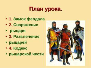 План урока. 1. Замок феодала 2. Снаряжение рыцаря 3. Развлечение рыцарей 4. К