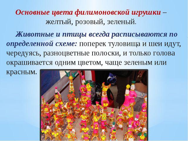 Основные цвета филимоновской игрушки – желтый, розовый, зеленый. Животные и п...
