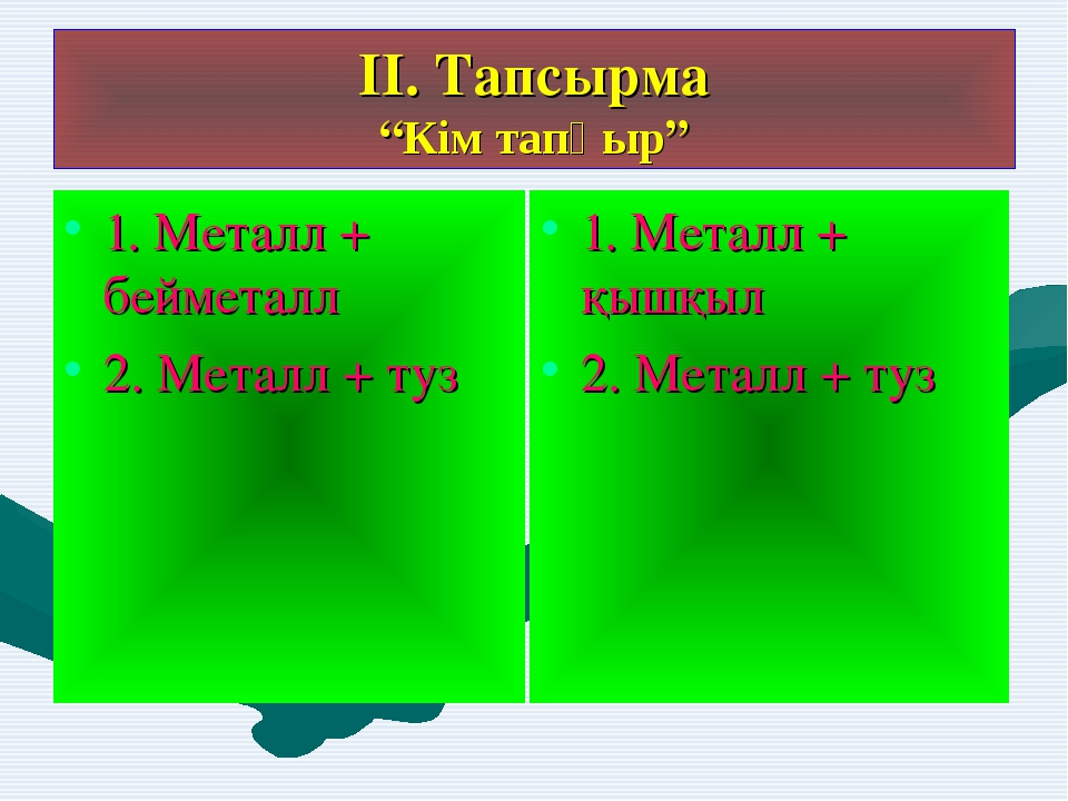 """ІІ. Тапсырма """"Кім тапқыр"""" 1. Металл + бейметалл 2. Металл + туз 1. Металл + қ..."""