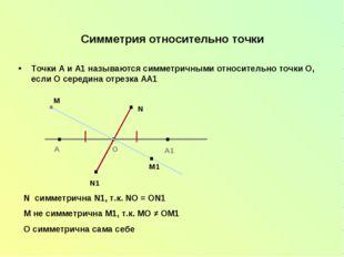 Симметрия относительно точки Точки А и А1 называются симметричными относитель