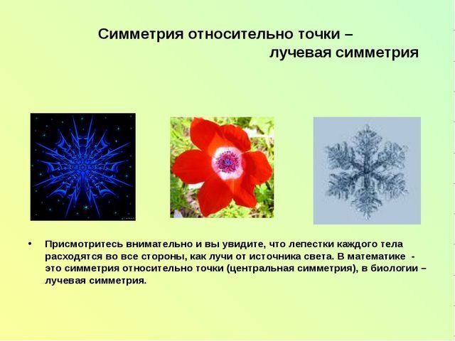 Симметрия относительно точки – лучевая симметрия Присмотритесь внимательно и...