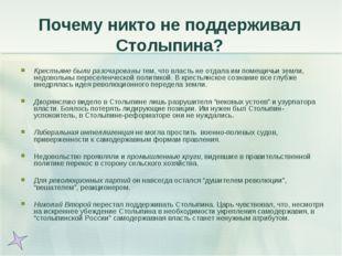 Почему никто не поддерживал Столыпина? Крестьяне были разочарованы тем, что в