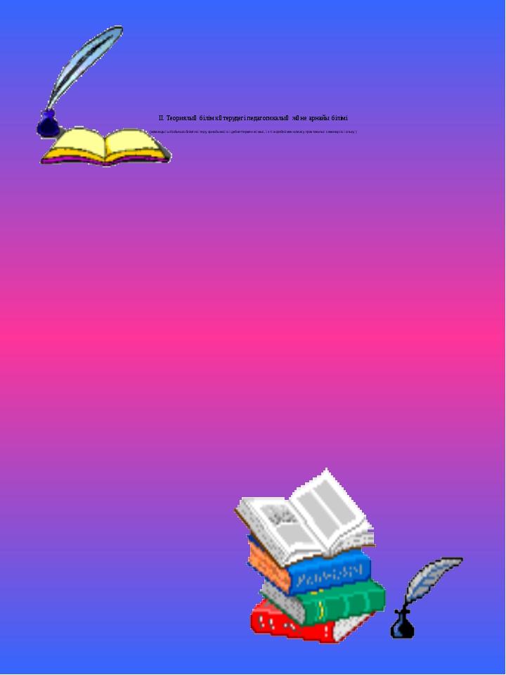 II. Теориялық білім көтерудегі педагогикалық және арнайы білімі (мамандығы б...