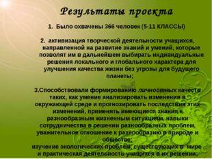 Результаты проекта Было охвачены 366 человек (5-11 КЛАССЫ) активизация творче
