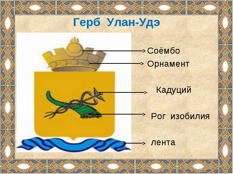 Герб Улан-Удэ Соёмбо Орнамент Кадуций Рог изобилия лента