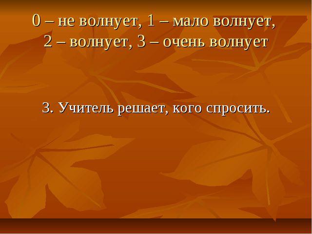 0 – не волнует, 1 – мало волнует, 2 – волнует, 3 – очень волнует 3. Учитель...