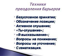 Безусловное принятие; Обозначение позиции; Активное слушание; «Ты-слушание»;