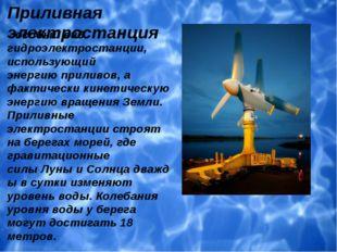 Приливная электростанция - особый вид гидроэлектростанции, использующий эне