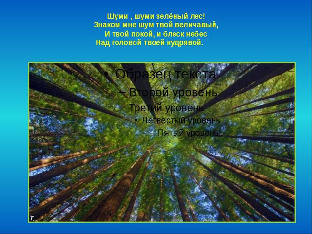Шуми , шуми зелёный лес! Знаком мне шум твой величавый, И твой покой, и блеск...