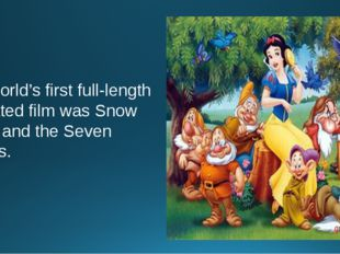 The world's first full-length animated film was Snow White and the Seven Dwar
