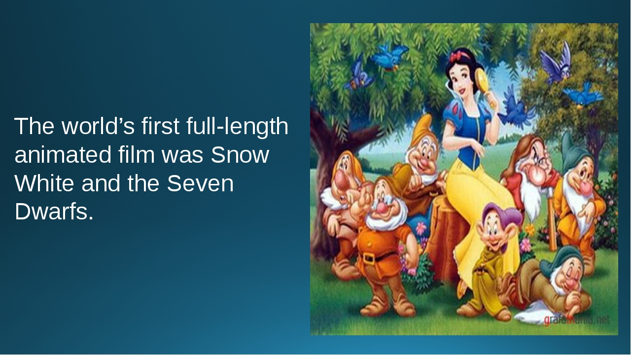 The world's first full-length animated film was Snow White and the Seven Dwar...
