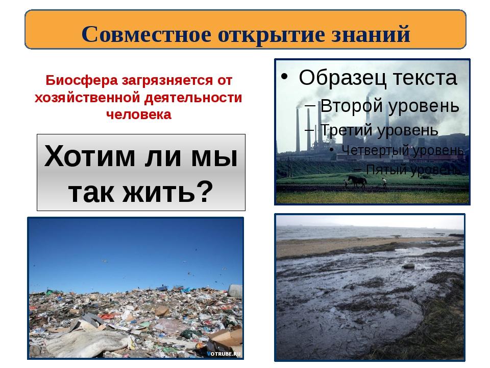 Биосфера загрязняется от хозяйственной деятельности человека Хотим ли мы так...