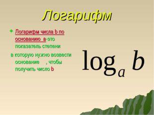 Логарифм Логарифм числа b по основанию а-это показатель степени в которую нуж