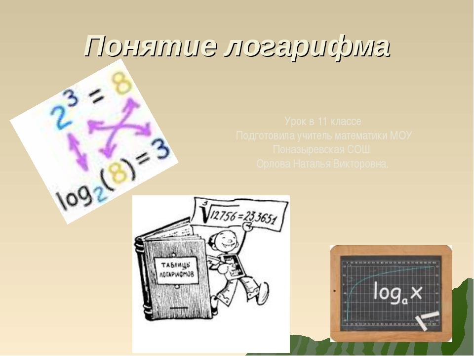 Понятие логарифма Урок в 11 классе Подготовила учитель математики МОУ Поназыр...