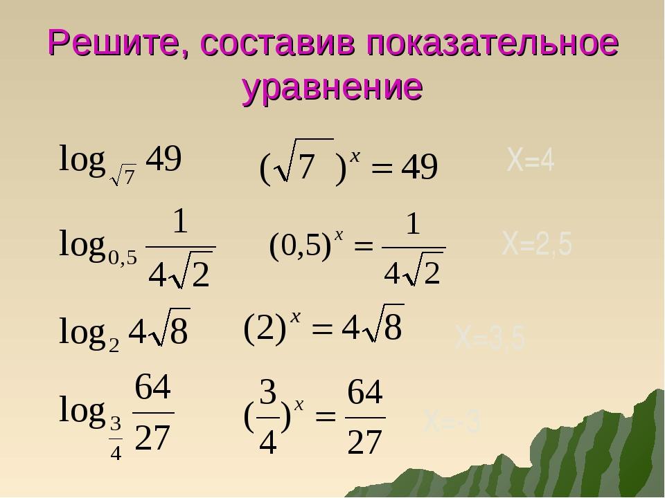 Решите, составив показательное уравнение Х=4 Х=2,5 Х=3,5 Х=-3
