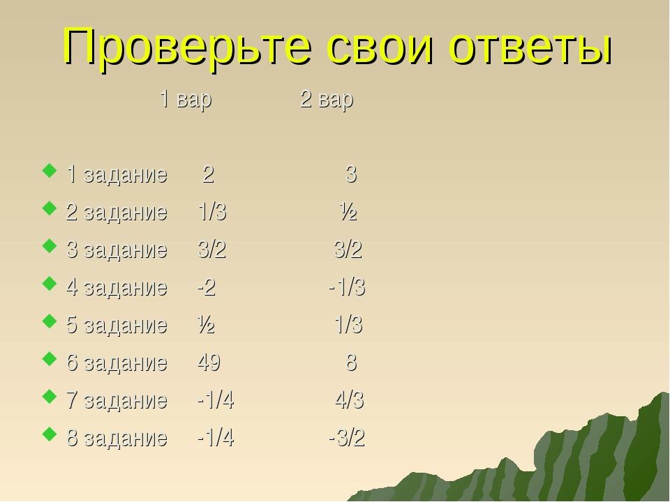 Проверьте свои ответы 1 вар 2 вар 1 задание 2 3 2 задание 1/3 ½ 3 задание 3/2...