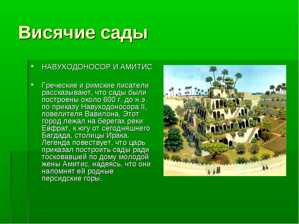 Висячие сады НАВУХОДОНОСОР И АМИТИС Греческие и римские писатели рассказывают...
