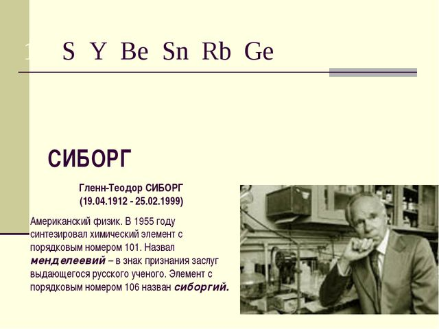 15. S Y Be Sn Rb Ge СИБОРГ Гленн-Теодор СИБОРГ (19.04.1912 - 25.02.1999) Амер...