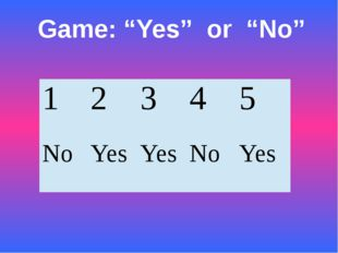 "Game: ""Yes"" or ""No"" 1 2 3 4 5 No Yes Yes No Yes"
