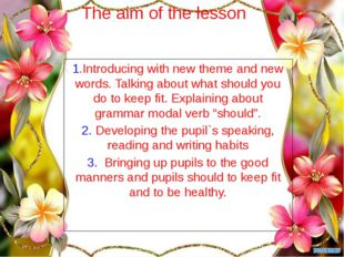 The aim of the lesson 1.Introducing with new theme and new words. Talking abo