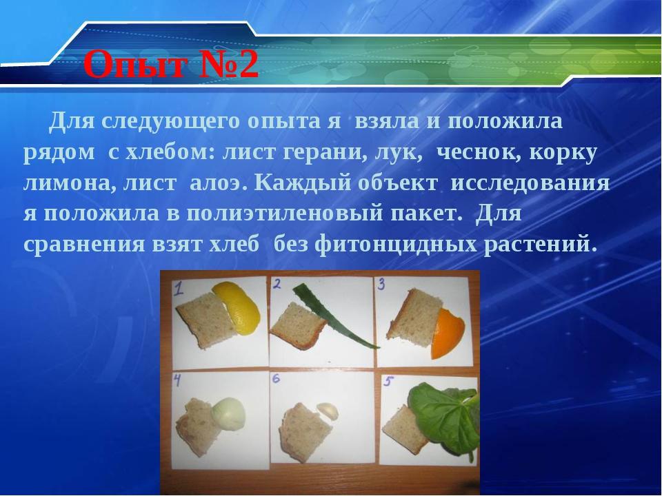 Опыт №2 Для следующего опыта я взяла и положила рядом с хлебом: лист герани,...