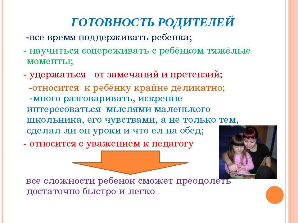 ГОТОВНОСТЬ РОДИТЕЛЕЙ -все время поддерживать ребенка; - научиться сопережива...