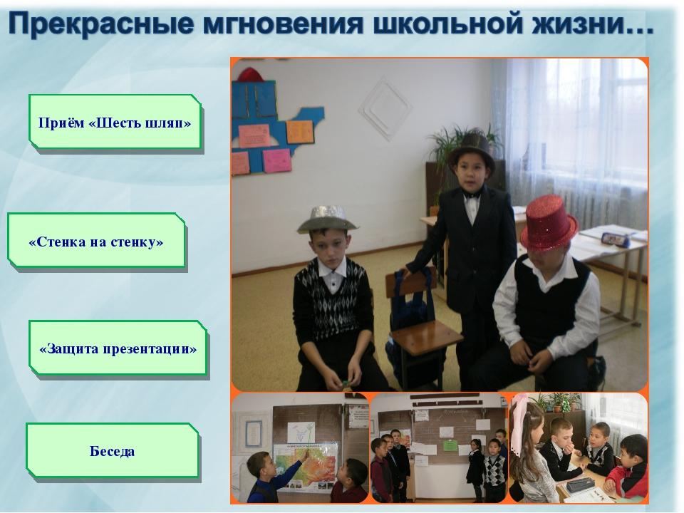 «Стенка на стенку» «Защита презентации» Приём «Шесть шляп» Беседа