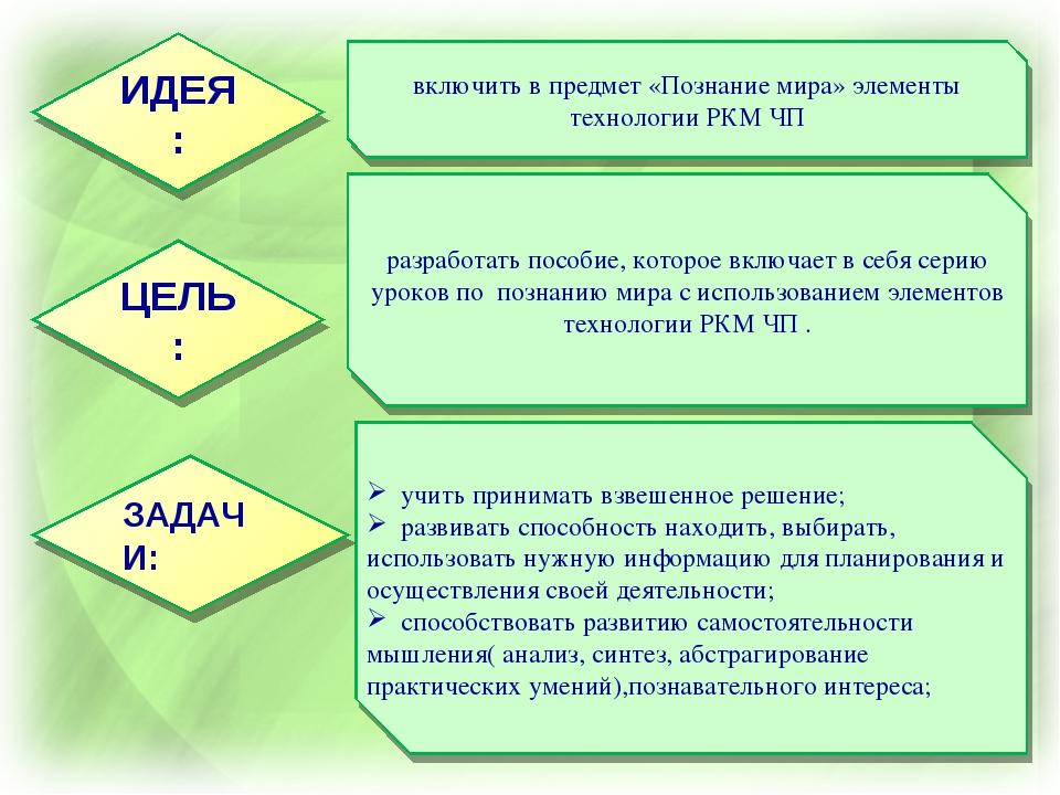 включить в предмет «Познание мира» элементы технологии РКМ ЧП учить принимать...