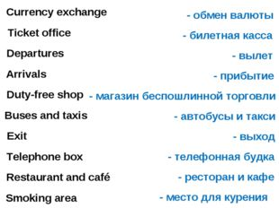 Currency exchange Ticket office Departures Arrivals Duty-free shop Exit Buses