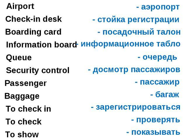 Airport - аэропорт Check-in desk - стойка регистрации Boarding card - посадоч...