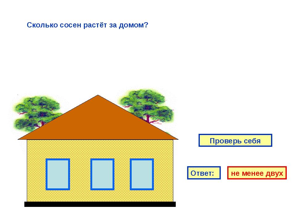 Ответ: не менее двух Проверь себя Сколько сосен растёт за домом?