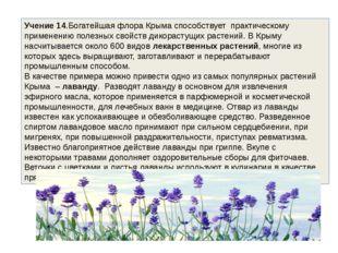Учение 14.Богатейшая флора Крыма способствует практическому применению полез
