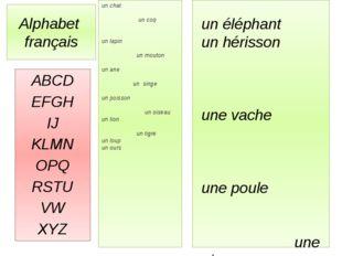 Alphabet français ABCD EFGH IJ KLMN OPQ RSTU VW XYZ un chat un coq un lapin u
