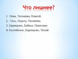 1. Нева, Тихвинка, Енисей. 2. Сясь, Ладога, Тихвинка. 3. Царицыно, Байкал, Па