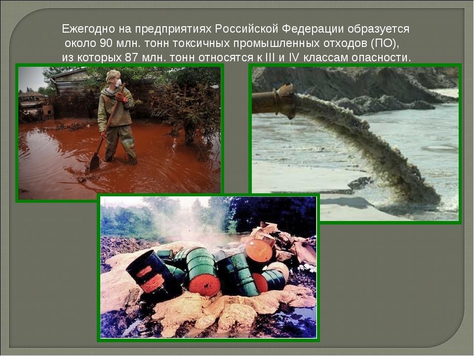Ежегодно на предприятиях Российской Федерации образуется около 90 млн. тонн т...