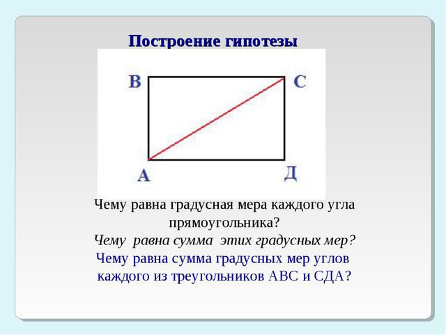 Построение гипотезы Чему равна градусная мера каждого угла прямоугольника? Ч...