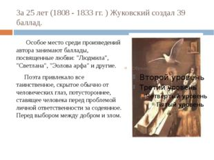 За 25 лет (1808 - 1833 гг. ) Жуковский создал 39 баллад. Особое место среди п