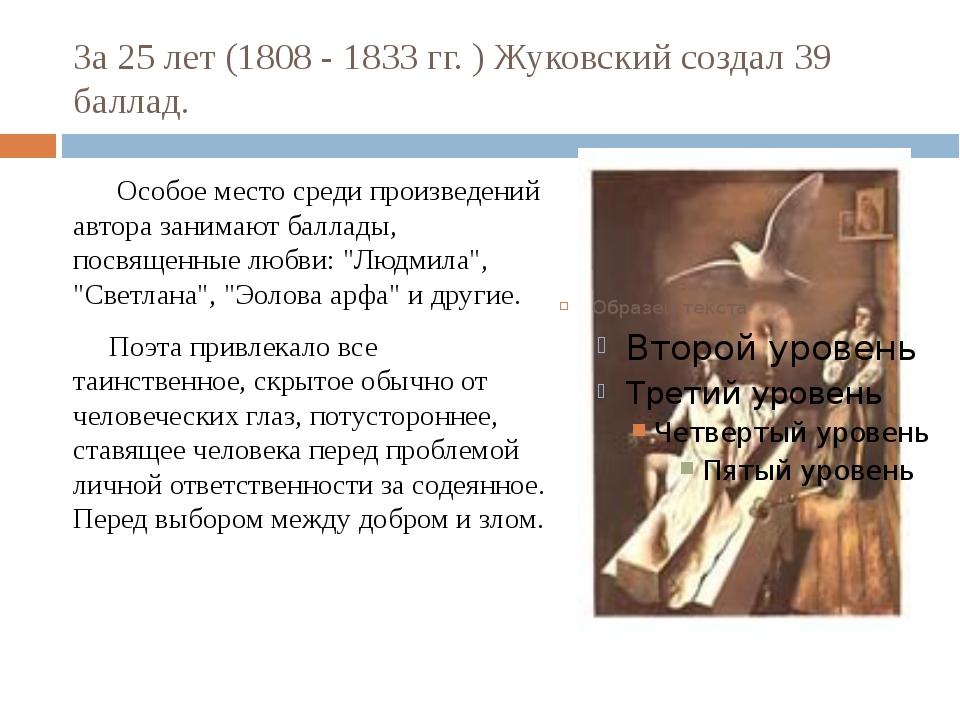 За 25 лет (1808 - 1833 гг. ) Жуковский создал 39 баллад. Особое место среди п...