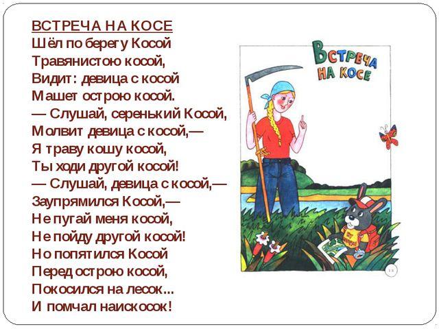 ВСТРЕЧА НА КОСЕ Шёл по берегу Косой Травянистою косой, Видит: девица с кос...