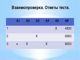 Взаимопроверка. Ответы теста. А1 А2 А3 А4 А5 А6 1 Х 4830 2 Х 6660 3 х Х Х 8600